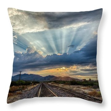 Follow The Rays Throw Pillow