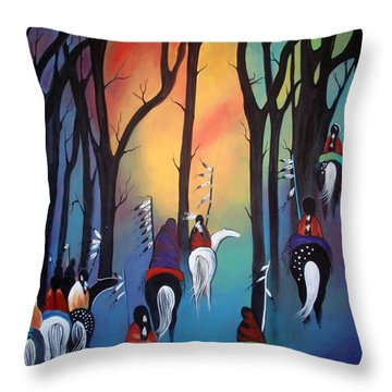 Following The Trail Of The Ancestors Throw Pillow