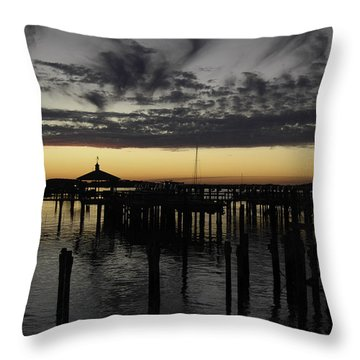 Folly Beach Dock Throw Pillow by Will Burlingham