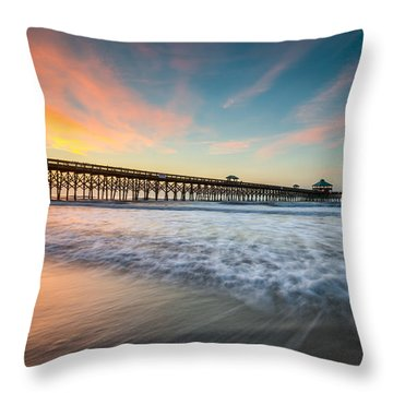 Folly Beach Pier At Dawn - Charleston Sc Throw Pillow