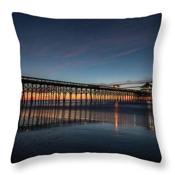 Folly Beach Pier Before Sunrise Throw Pillow