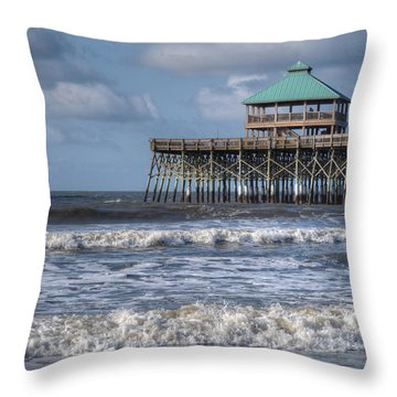 Throw Pillow featuring the photograph Folly Beach Pier by Michael Colgate
