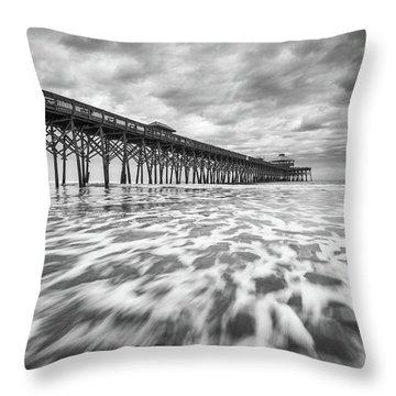 Folly Beach Pier Sc Scenic Seascape Photography Throw Pillow