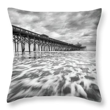 Folly Beach Pier Sc Scenic Seascape Photography Throw Pillow