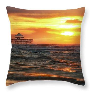Folly Beach Pier Sunrise Throw Pillow