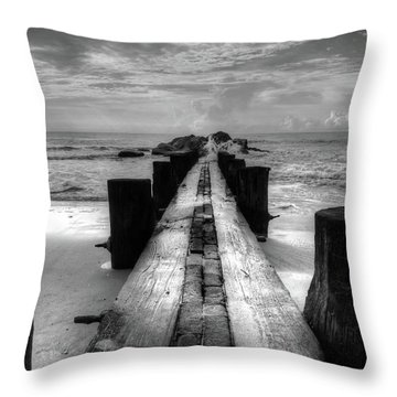 Folly Beach Pilings Charleston South Carolina In Black And White  Throw Pillow