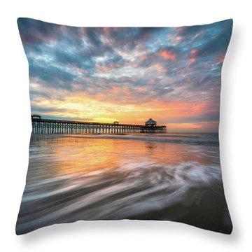 Folly Beach Sc Ocean Seascape Charleston South Carolina Scenic Landscape Throw Pillow