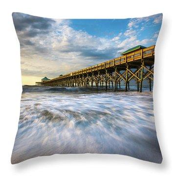 Folly Beach Sc Pier Charleston South Carolina Seascape Throw Pillow