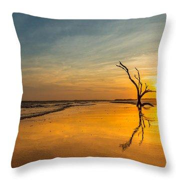 Folly Beach Skeleton Tree At Sunset - Folly Beach Sc Throw Pillow