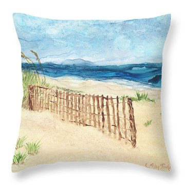 Throw Pillow featuring the painting Folly Field Fence by Kathryn Riley Parker