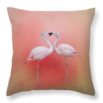 Fond Flamingos Throw Pillow