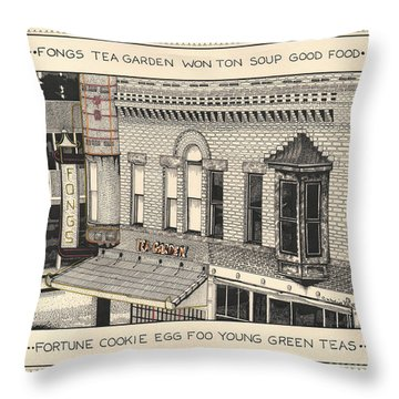 Throw Pillow featuring the drawing Fongs Tea Garden by Chholing Taha