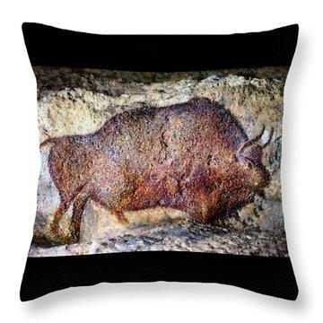 Font De Gaume Bison Throw Pillow