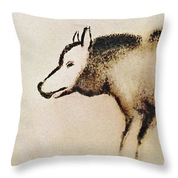 Font De Gaume Wolf Throw Pillow