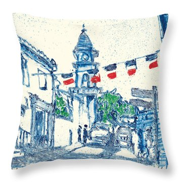 Throw Pillow featuring the painting Fontvieille Village Provence by Martin Stankewitz