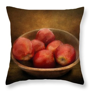 Food - Apples - A Bowl Of Apples  Throw Pillow by Mike Savad