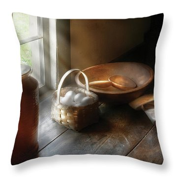 Food - Morning Eggs Throw Pillow by Mike Savad