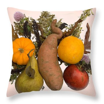 Throw Pillow featuring the digital art Food Bouquet by Lise Winne