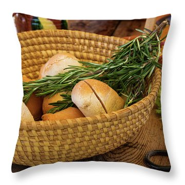 Food - Bread - Rolls And Rosemary Throw Pillow by Mike Savad