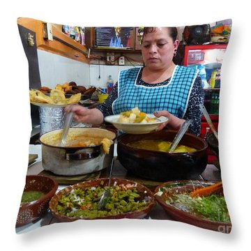 Food Court In Paracho Throw Pillow