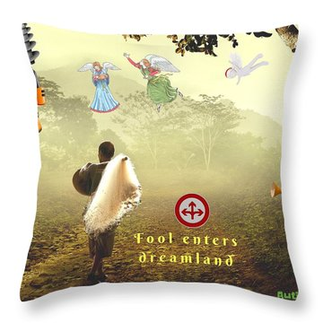 Fool Enters Dreamland Throw Pillow