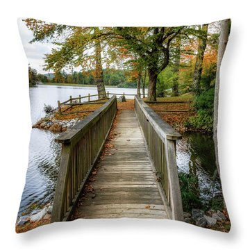 Foot Bridge At Linville Land Harbor Throw Pillow