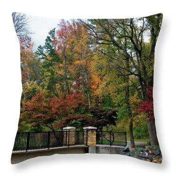 Foot Bridge In The Fall Throw Pillow