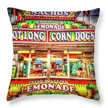 Throw Pillow featuring the photograph Foot Long Corn Dogs by Spencer McDonald