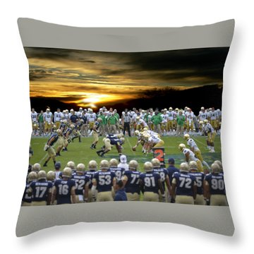Football Field-notre Dame-navy Throw Pillow