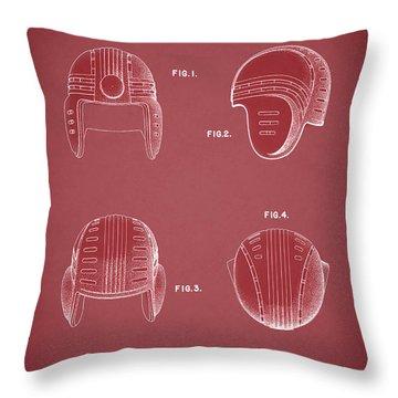 Football Helmet 1935 - Red Throw Pillow