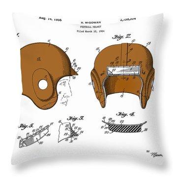 Football Helmet 1954 - White Throw Pillow