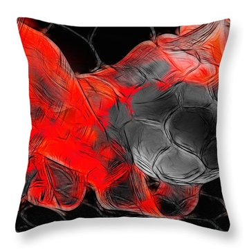 Football Throw Pillow by Manfred Lutzius