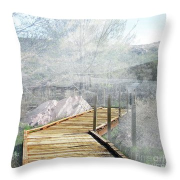 Footbridge In The Clouds Throw Pillow