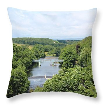 Footbridge Over The River Tees Throw Pillow
