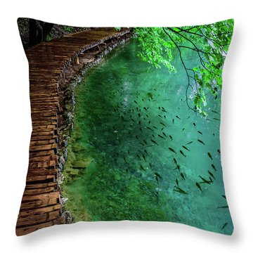 Footpaths And Fish - Plitvice Lakes National Park, Croatia Throw Pillow