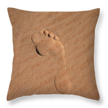 Footprint In The Sand Throw Pillow
