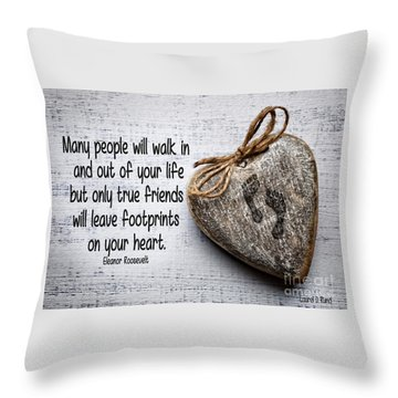 Footprint On Your Heart Throw Pillow