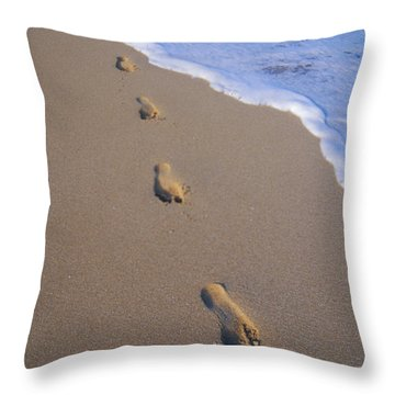 Footprints Throw Pillow by Don King - Printscapes