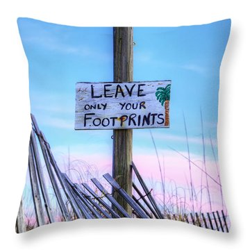 Throw Pillow featuring the photograph Footprints In Fort Morgan by JC Findley