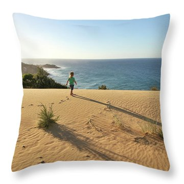 Footprints In The Sand Dunes Throw Pillow