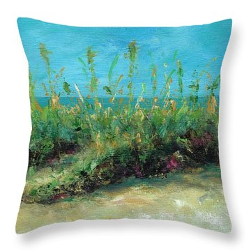 Footprints In The Sand Throw Pillow by Frances Marino