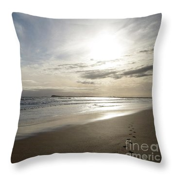 Throw Pillow featuring the photograph Footprints In The Sand by Linda Lees