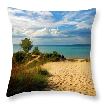 Footprints In The Sand P D P Throw Pillow by David Dehner