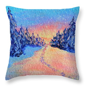 Throw Pillow featuring the painting Footprints In The Snow by Li Newton