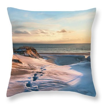 Throw Pillow featuring the photograph Footprints In The Snow by Robin-lee Vieira