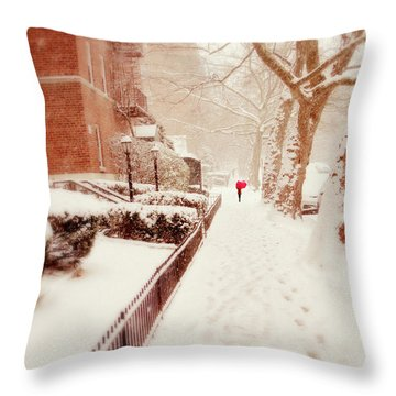 Throw Pillow featuring the photograph The Red Umbrella by Jessica Jenney