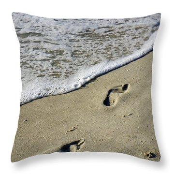 Footprints On The Beach Throw Pillow