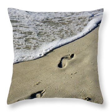 Footprints On The Beach Throw Pillow