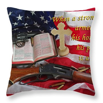 For God, Family And Country Throw Pillow by Robyn Stacey