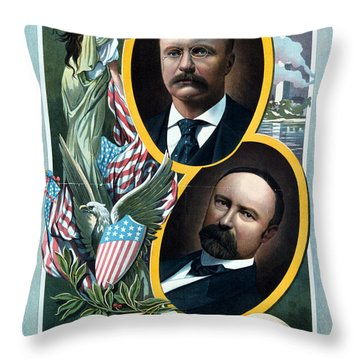 For President - Theodore Roosevelt And For Vice President - Charles W Fairbanks Throw Pillow by International  Images